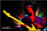 Jimi Hendrix Druck aufgezogen auf Holzplatte