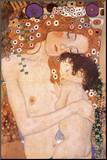 Mutter und Kind Druck aufgezogen auf Holzplatte von Gustav Klimt