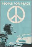 John Lennon achter piano, met tekst: People for Peace Kunstdruk geperst op hout