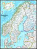 Map of Scandinavia Mounted Print