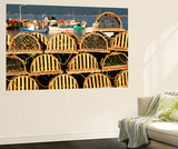 Stack of Lobster Traps at Neil's Harbor, Cape Breton, Nova Scotia, Canada Wall Mural by Walter Bibikow