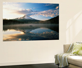 Fisherman, Trillium Lake, Mt Hood National Forest, Mt Hood Wilderness Area, Oregon, USA Wall Mural by Adam Jones