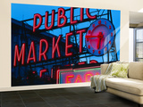 View of Public Market Neon Sign and Pike Place Market, Seattle, Washington, USA Wall Mural – Large by Walter Bibikow