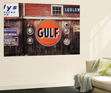 Ludlow Garage with Signs, Chester, Vermont, USA Wall Mural by Walter Bibikow