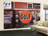 Ludlow Garage with Signs, Chester, Vermont, USA Wall Mural – Large by Walter Bibikow