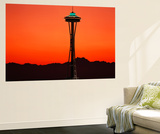Space Needle at Sunset, Seattle, Washington, USA Wall Mural by David Barnes