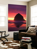 Haystack Rock Silhouetted on Cannon Beach at Sunset, Oregon, USA Posters af Adam Jones