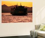 Ferry Boat at Sunset, Washington, USA Plakater af David Barnes