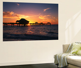 Clearwater Beach and Pier at Sunset, Florida, USA Posters by Adam Jones