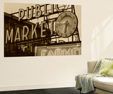 View of Public Market Neon Sign and Pike Place Market, Seattle, Washington, USA Poster af Walter Bibikow