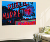 View of Public Market Neon Sign and Pike Place Market, Seattle, Washington, USA Plakater af Walter Bibikow