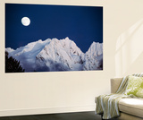 Full Moon over Snowcapped Mountain, North Cascades, Washington State, USA Poster by Peter Skinner