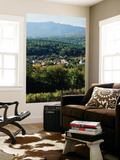 View of Town with Mountain, Stowe, Vermont, USA Plakat af Walter Bibikow