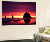 View of Haystack Rock on Cannon Beach at Sunset, Oregon, USA Poster af Stuart Westmorland