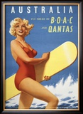Fly to Australia by BOAC and Qantas Poster