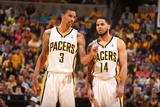 Indianapolis, IN - May 14: George Hill and D.J. Augustin Photographic Print by Nathaniel S. Butler