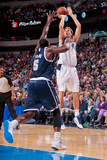 Dallas, TX - January 18: Dirk Nowitzki and Kendrick Perkins Photographic Print by Danny Bollinger