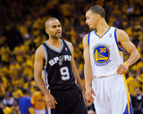 Oakland, CA - May 16: Stephen Curry and Tony Parker Photographic Print by Noah Graham