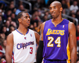 Los Angeles, CA - January 4: Chris Paul and Kobe Bryant Fotografisk tryk af Andrew Bernstein
