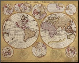 Antique Map, Globe Terrestre, 1690 Mounted Print by Vincenzo Coronelli