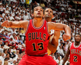 Miami, FL - May 15: Joakim Noah and Shane Battier Photo by Issac Baldizon
