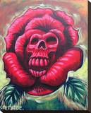 Rose Skull Stretched Canvas Print by  Lefty Joe