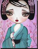 Little Geisha Stretched Canvas Print by Dottie Gleason