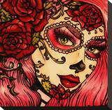 Day of the Dead Pink Stretched Canvas Print by Brittany Hanks