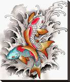 Koi At Play Stretched Canvas Print by Clark North