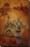 Fiesta en Old Town Stretched Canvas Print by David Lozeau