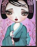 Little Geisha Stretched Canvas Print by Dottie Gleason