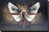 Grunge Angel II Stretched Canvas Print by Chris Kape