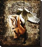 Grunge Angel Stretched Canvas Print by Chris Kape
