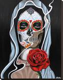 Skull Lady Stretched Canvas Print by Fernando Aparicio