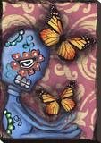 Playing with Monarchs Stretched Canvas Print by Abril Andrade