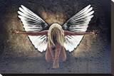 Grunge Angel II Stretched Canvas Print by Chris Kape