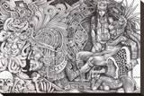 Aztec Dream Stretched Canvas Print by Mouse Lopez