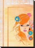 Orange Haired Girl Stretched Canvas Print by  Cambria