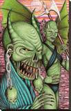 Green Demons Stretched Canvas Print by Carlos Fox Lopez