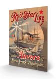 Red Star Cruise Line: Antwerp, New York, and Philadelphia Træskilt af C. Satzmann