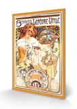 Biscuits Lefevre-Utile Wood Sign by Alphonse Mucha