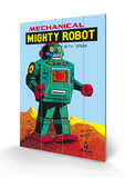 Mechanical Green Mighty Robot with Spark Wood Sign
