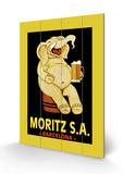 Moritz S.A. Cartel de madera