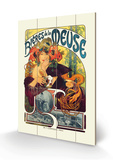 Bieres de le Meuse Wood Sign by Alphonse Mucha