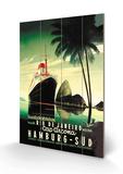 Croisière de Hamburg vers Rio de Janeiro sur le paquebot Cap Arcona - Affiche vintage de la compagnie Hamburg-Süd Panneau en bois