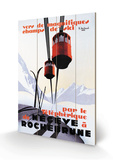 Téléphériques et skis dans la neige - Affiche vintage Panneau en bois par Paul Ordner