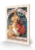 Chocolat Ideal Wood Sign by Alphonse Mucha