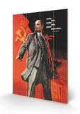 Victor Ivanov - Lenin žil, Lenin žije, Lenin bude žít (text vruštině) Dřevěná cedule
