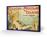 Biscuits and Chocolate Delcare Træskilt af Alphonse Mucha
