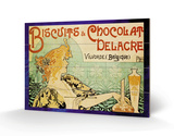 Biscuits and Chocolate Delcare Wood Sign by Alphonse Mucha